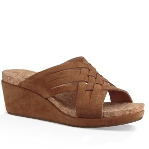 Ugg Lila Leather Cork Wedge Sandals